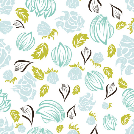 siluetas: Seamless vector floral background. For easy making seamless pattern just drag all group into swatches bar, and use it for filling any contours. Illustration