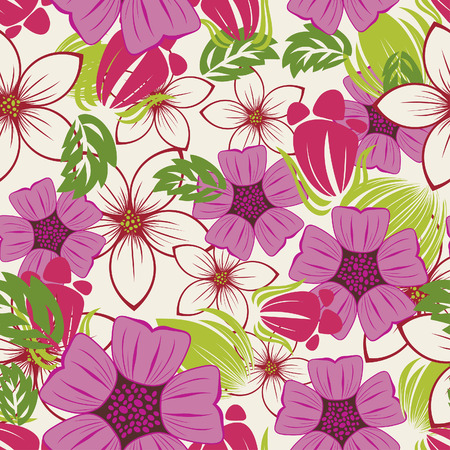 vector flowers: Seamless vector floral background. For easy making seamless pattern just drag all group into swatches bar, and use it for filling any contours. Illustration