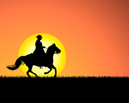 western background: Horse silhouette on sunset background. Vector illustration.