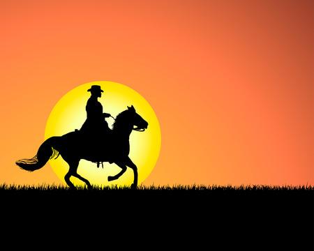 Horse silhouette on sunset background. Vector illustration. Stock Vector - 5314485