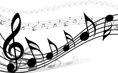 music notes vector: Vector musical notes staff background for design use Illustration