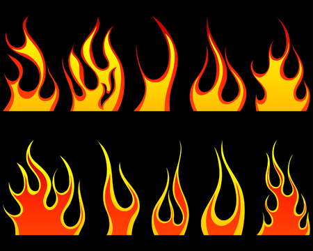 rod sign: Set of different fire patterns for design use