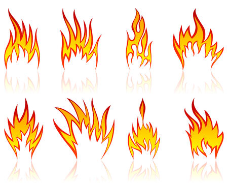 Set of different fire patterns for design use Stock Vector - 5314483