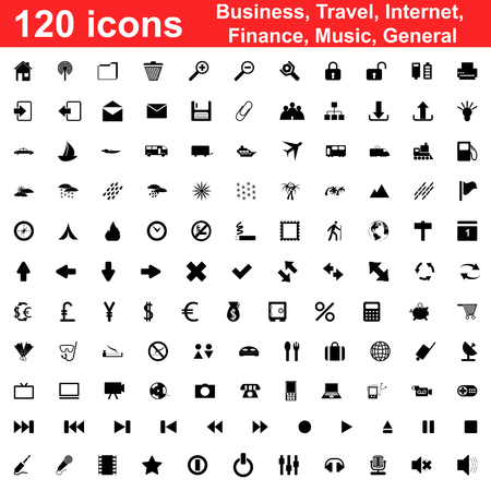 Biggest collection of 120  different icons for using in web design Stock Vector - 5320211