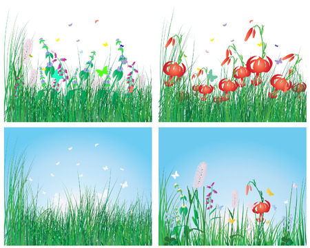 Vector illustration grass backgrounds set for design use Vector
