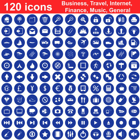 Biggest collection of 120  different icons for using in web design Stock Vector - 5330810