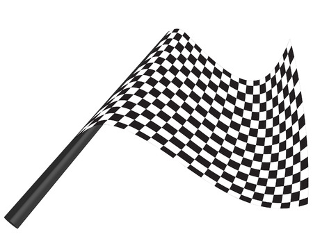 checked: Black and white checked racing flag. Vector illustration.  Illustration