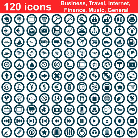 Biggest collection of 120  different icons for using in web design Stock Vector - 5341792