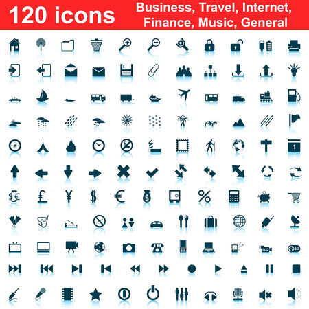 Biggest collection of 120  different icons for using in web design Stock Vector - 5355500