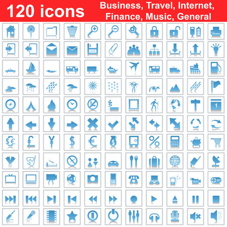 Biggest collection of 120  different icons for using in web design Stock Vector - 5355498