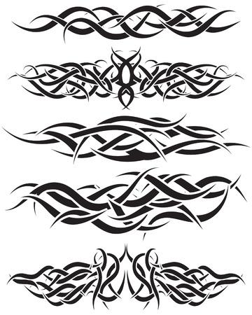 dessin tribal: Les mod�les de tatouage tribal pour utiliser la conception Illustration