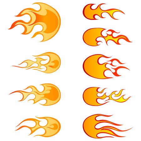 Set of different fireballs patterns for design use Vector