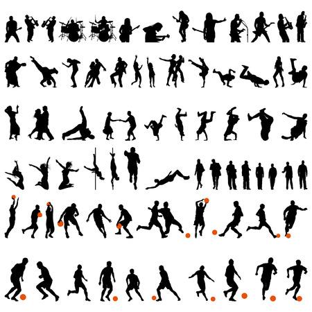 dance music: grote verzameling van verschillende mensen vector silhouet. Dans en sport.  Stock Illustratie