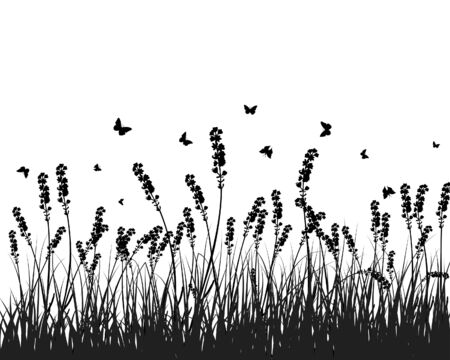 Vector grass silhouettes background. All objects are separated. Stock Vector - 5357996