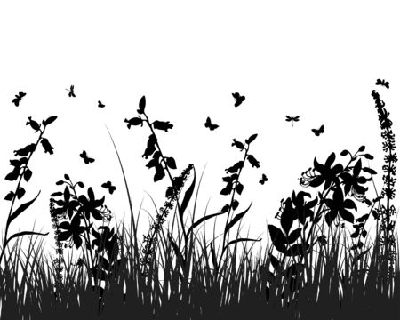 Vector grass silhouettes background. All objects are separated. Stock Vector - 5357994