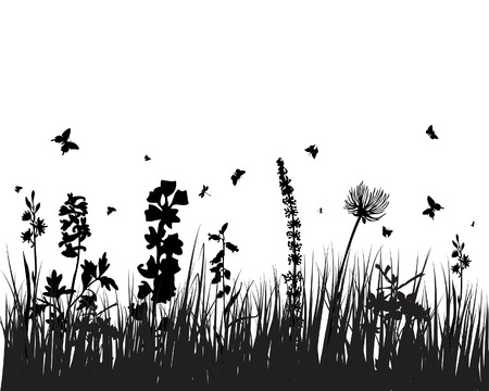 Vector grass silhouettes background. All objects are separated. Stock Vector - 5357999