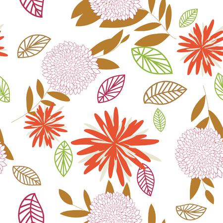 remplissage: Seamless vector floral. Pour faciliter la fabrication de mod�les sans soudure suffit de faire glisser l'ensemble du groupe dans la barre d'�chantillons, et l'utiliser pour le remplissage des contours.