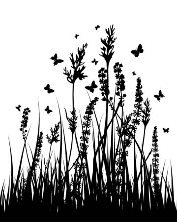 Vector grass silhouettes background. All objects are separated. Stock Vector - 5386893