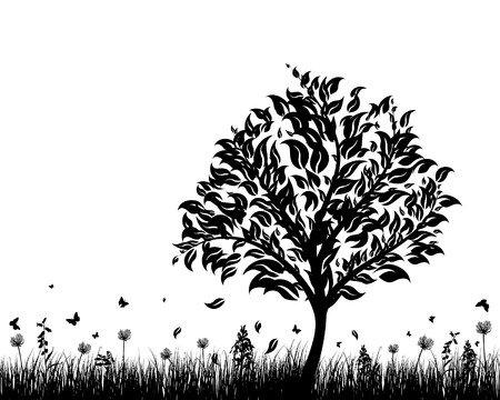 natural vector: Vector grass silhouettes background. All objects are separated. Illustration