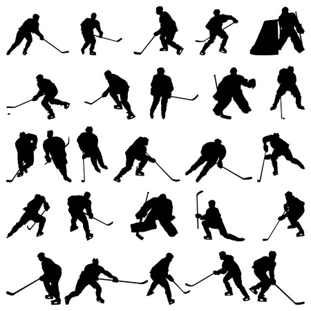 defense equipment: Gran colecci�n de jugadores de hockey sobre hielo vector de siluetas