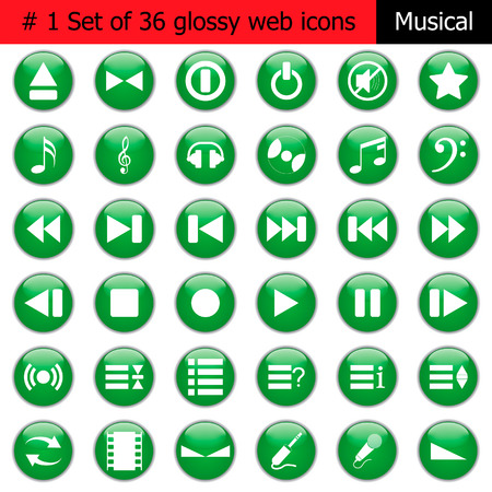 Collection of different icons for using in web design. Set #1. Music. Vector
