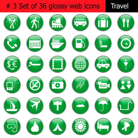 Collection of different icons for using in web design. Set #3. Travel. Vector