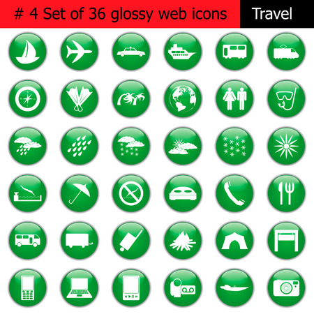 Collection of different icons for using in web design. Set #4. Travel. Vector