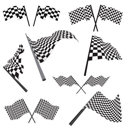 checker board: Set de blanco y negro comprobar banderas de carreras. Ilustraci�n del vector.