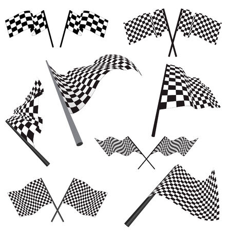Set of black and white checked racing flags. Vector illustration. Stock Vector - 5426515