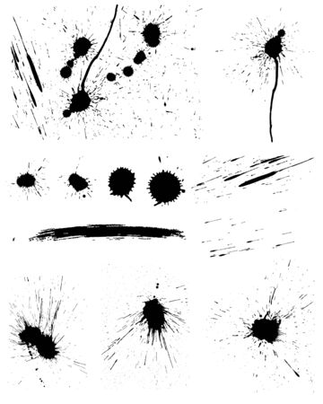 Set of vector ink blots  for grunge design Vector
