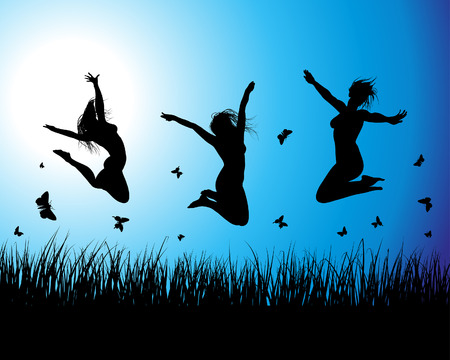 woman jump: Vector grass silhouettes background. All objects are separated. Illustration