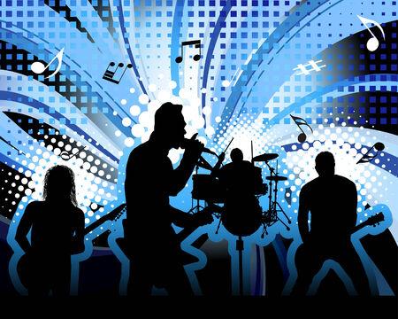 ロック グループの歌手のテーマ。デザイン用のベクトル図