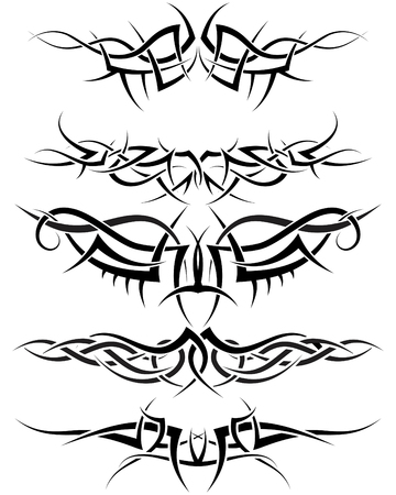 Patterns of tribal tattoo for design use Vector