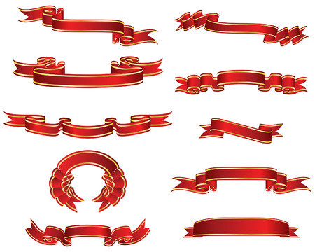 vector ribbons: Set of different vector ribbons on white background
