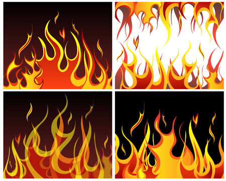 Inferno fire vector backgrounds set  for design use Vector