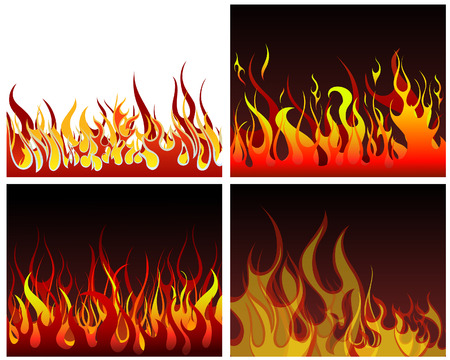 rod sign: Inferno fire vector backgrounds set  for design use