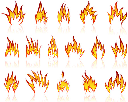 Set of different fire patterns for design use Vector