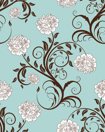 Nahtlose Vector floral Background. Ziehen Sie für easy making seamless Pattern nur alle Gruppe in Farbfelder Bar, und verwenden Sie es zum ausfüllen alle Konturen.