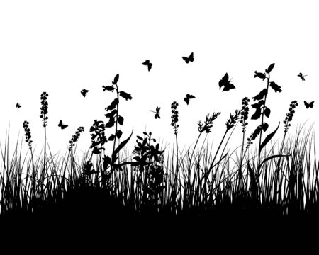 Vector grass silhouettes background. All objects are separated. Stock Vector - 5469960