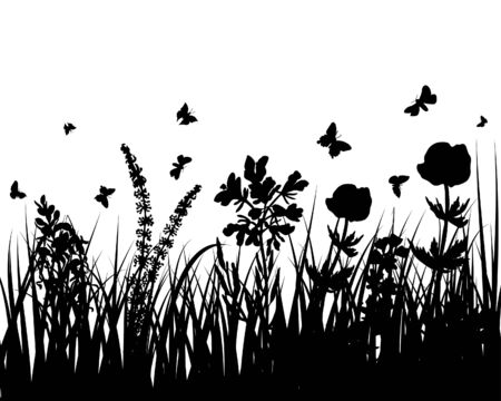 Vector grass silhouettes background. All objects are separated. Stock Vector - 5469976
