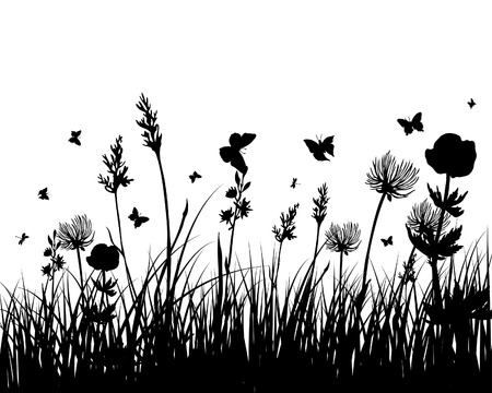 Vector grass silhouettes background. All objects are separated. Stock Vector - 5469979
