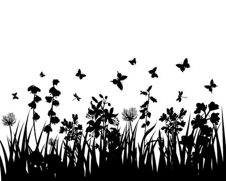 иллюстрировать: Векторные трава силуэты фон. Все объекты разделены.