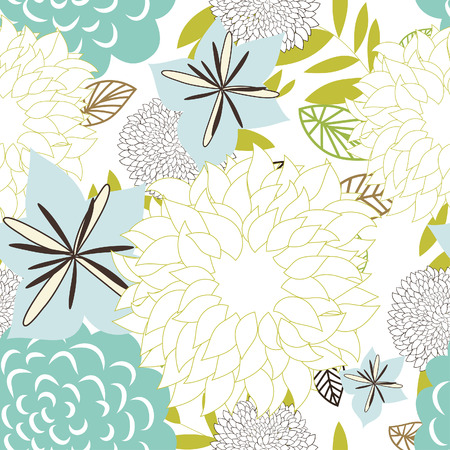 floral vector: Seamless vector floral background. For easy making seamless pattern just drag all group into swatches bar, and use it for filling any contours. Illustration