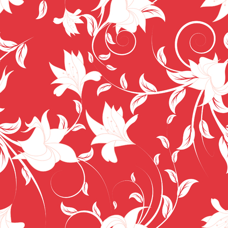 outline flower: Seamless vector floral background. For easy making seamless pattern just drag all group into swatches bar, and use it for filling any contours. Illustration