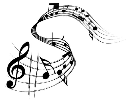 musical notes: Vector musical notes staff background for design use Illustration