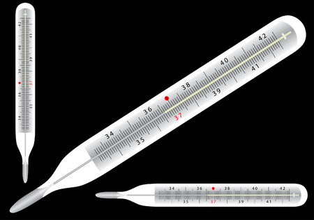 Medical thermometer icons with degree scale. Vector illustration; Stock Vector - 5495389