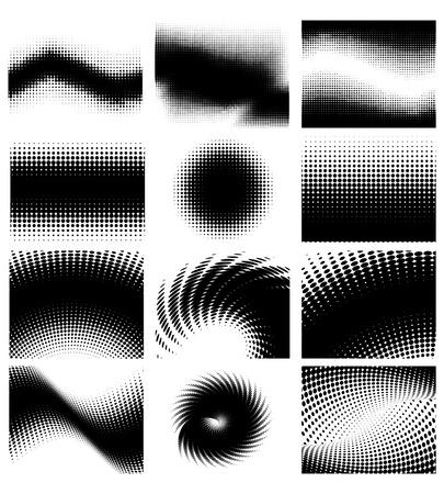 Set of different shape halftone vector background Vetores