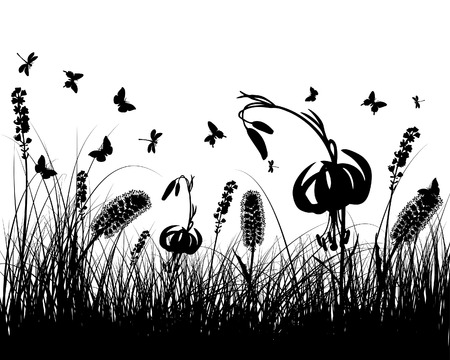 Vector grass silhouettes background. All objects are separated. Stock Vector - 5508528