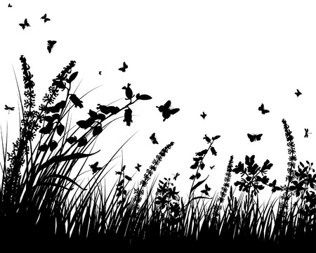Vector grass silhouettes background. All objects are separated. Stock Vector - 5508526