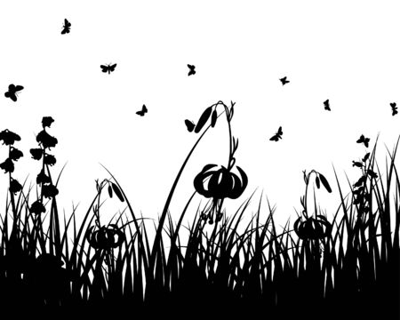 Vector grass silhouettes background. All objects are separated. Stock Vector - 5508513